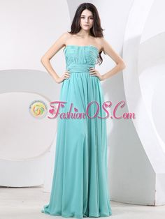 Strapless and Ruch For Simple Prom Dress With Green  http://www.fashionos.com  sleeveless prom dress | chiffon prom dress | strapless prom dress | empire prom dress | zipper up prom dress | under 150 prom dress | dress for prom | prom dresses gowns | dresses for a quince |his gorgeous gown is just perfect for any would-be prom princess.