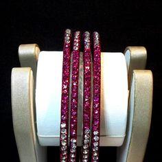 Dark Pink Stone Studded Bangles