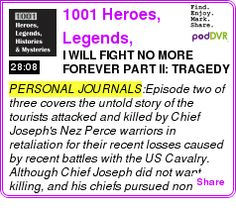 #PERSONAL #PODCAST  1001 Heroes, Legends, Histories & Mysteries    I WILL FIGHT NO MORE FOREVER PART II: TRAGEDY AT YELLOWSTONE    LISTEN...  http://podDVR.COM/?c=d31ee29a-0b59-4425-1388-80207f35b822