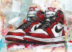Nike Air Jordan retro 1 Chicago painting by Jos Hoppenbrouwers on canvas, wallpaper and Jordan Shoes Wallpaper, Sneakers Wallpaper, Nike Wallpaper, Retro Wallpaper, Jordan Retro 1, Nike Retro, Jordan Painting, Mano Brown, Arte Do Hip Hop
