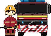 Tipo UK Fireman y camión de bomberos