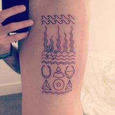 My first tattoo ever done by Rin at Kaleidoscope Tattoo Studio in Bondi, Sydney.Top half; Ocean inspired setting with anchor for my Dad.Bott...