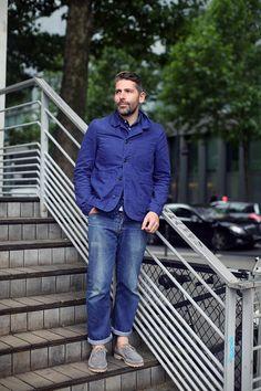 Worn denim, classic work blazer and pattern shirt