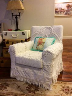 Shabby Chic slipcovered chair from vintage chenille bedspread.