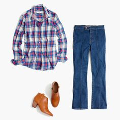 Good days start with great jeans. Ex Boyfriend, Madewell, Plaid, Jeans, Shirts, Inspiration, Tops, Women, Fashion