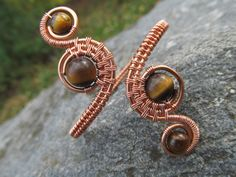Tigers Eye Copper Wire Double Spiral by TheGemstoneGoddess on Etsy