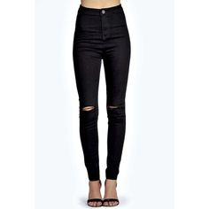 Boohoo Lara Super Skinny High Rise Tube Slashed Jeans ($44) ❤ liked on Polyvore featuring jeans, high waisted ripped skinny jeans, destroyed skinny jeans, baggy skinny jeans, distressed boyfriend jeans and slim straight jeans