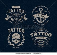 Vector tattoo studio logo templates on dark background. Cool retro styled vector emblems. - stock vector