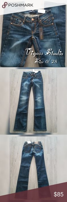 VIGOSS STUDIO Blue Brown Boyfriend jeans levis Gorgeous! ❤ perfect for that  Vigoss lover NWT 0f3e19b81e