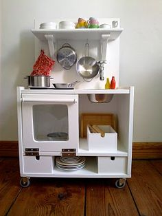 Best Photo Play kitchen from Ikea rest Strategies An Ikea kids' space continues to amaze the children, since they are offered far more than just ch Diy Kids Kitchen, Toy Kitchen, Kitchen Sets, Kitchen Shelves, Kitchen Decor, Ikea Kitchen, Kitchen Interior, Kitchen Island, Hacks Ikea
