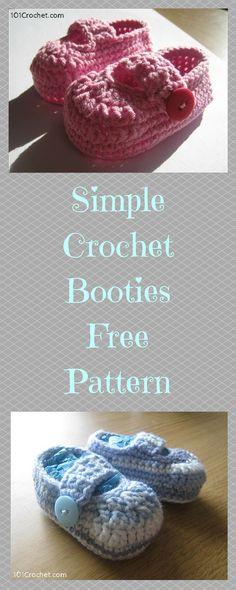 Simple Booties Pattern from Crochet - Free #Crochet Patterns - 101 Crochet