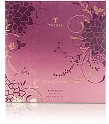 Thymes Moonflower Bath Salts Envelope - 2 oz by Thymes. $4.50. Aromas of gilded cinnamon, clove and sugared quince sparkle on fresh myrtle leaves, while rich mahogany dances with dark amber and smooth cognac.. Epsom and sea salts combine to soften and refine skin.. Made in the USA.. Immerse yourself in the mysterious fragrance of twilight. Thymes Moonflower Bath Salts entice your senses with a luxurious fragrance.. Not tested on animals.. Immerse yourself in the mysteriou...