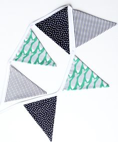 Black / White / Green Fabric Bunting Garland Banner - Bedroom / Nursery / Playroom / Party Decor - Custom Made to Suit Your Decor Bunting Garland, Fabric Bunting, Bedroom Green, Green Fabric, Sewing Ideas, Playroom, Unique Gifts, Banner