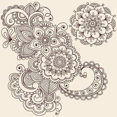draw flower patterns Hand-Drawn Intricate Abstract Flowers and Mandala Mehndi Henna Tattoo Paisley Doodle - Illustration Stock Photo - - Millions of Creative Stock Photos, Vectors, Videos and Music Files For Your Inspiration and Projects. Paisley Doodle, Paisley Drawing, Mandalas Painting, Mandalas Drawing, Zentangles, Zentangle Drawings, Henna Kunst, Henna Art, Mehndi Art