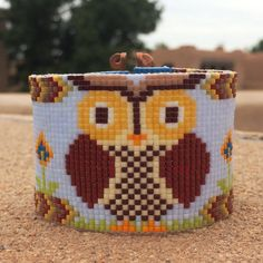 Woodland Owl Bead Loom Bracelet OOAK Artisanal Jewelry Bird Motif Beaded Gypsy Boho Bohemian Animals Autumn Owls Fall Colors
