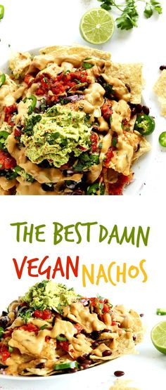 The BEST Damn Vegan nachos with Creamy Cashew-LESS Vegan Cheese and 3-ingredient guacamole. SO simple, tasty and satisfying. #vegan #glutenfree