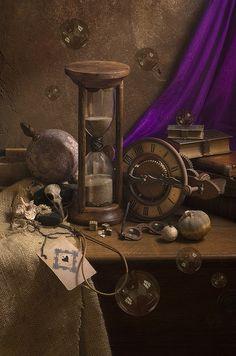 ** Brown and Purple Vintage Sand Timers, Bulletins, Clock Art, 3d Fantasy, Still Life Art, Decoration Design, Colour Board, World Of Color, Time Art