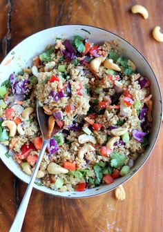 Crunchy Cashew Thai Quinoa Salad with Ginger Peanut Dressing- love that the recipe is filled with loads of healthy goodness: carrots, cabbage, quinoa, cilantro, cashews, red pepper, and onion.