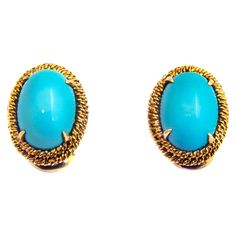 GABRIELLE'S AMAZING FANTASY CLOSET | David Webb Turquoise Yellow Gold Earrings |