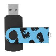 Blue and Black Leopard Fur Pattern USB Flash Drive #USB #stockingstuffer