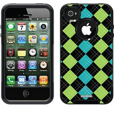 Argyle Green with Envy Argyle design on OtterBox® Commuter Series® Case for iPhone 4 / 4S in Black