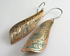 Earrings Handmade Copper, Etched Copper Earrings, Light Weight Earrings, Long Drop Earrings, Blue Turquoise Earrings, Handmade Jewelry