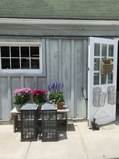 Habitually Chic® » Chicest Summer Farmstand Farm Stand, Garage Doors, Home And Garden, Cottage, Garden Houses, Places, Outdoor Decor, Summer, Baskets