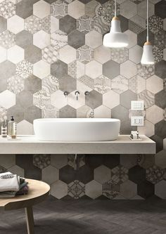 Not sure whether you want boho patterned tiles or hexagon tiles? Why not combine the two for a striking visual effect.