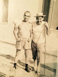 "1950's Palermo, Sicily- An older Lucky Luciano and Pasquale ""Patsy"" Eboli who was a captain in the Costello Family (The Commission forced Luciano to step down in 1947). Patsy's brother, Tommy Eboli later became acting-boss when the Costello Family became the Genovese Family (Frank Costello chose to retire from the Cosa Nostra in 1957)."