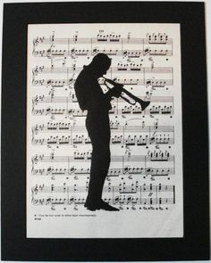 JAZZ MAN Trumpet vintage music book page print by 2PurpleCats, $8.00