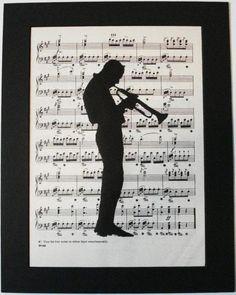 JAZZ MAN Trumpet vintage music book page print by 2PurpleCats, $8.00
