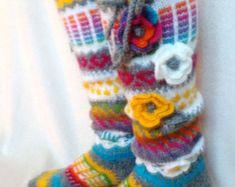 Wool socks Hand knit knee socks handknitted by WillowFairyJewelry Crochet Socks, Knitting Socks, Hand Knitting, Knit Crochet, Ravelry, Loom Love, Woolen Socks, Rainbow Socks, Knee Socks