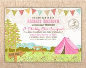 Shabby Chic Campout customizable party invitation. $16.00, via Etsy.