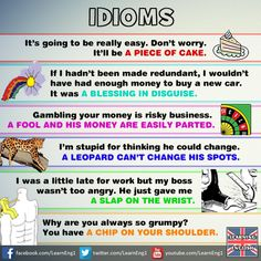 Idioms: a piece of cake, a blessing in disguise, a fool and his money are easily parted, a leopard can't change his spots, a slap on the wrist, a chip on your shoulder.