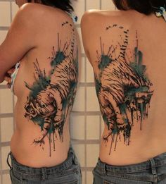 Watercolor tiger tattoo on back - 55 Awesome Tiger Tattoo Designs  <3 <3