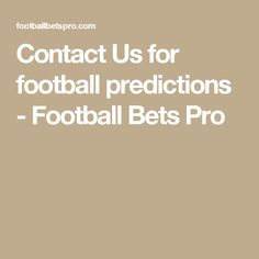 Contact Us for football predictions - Football Bets Pro