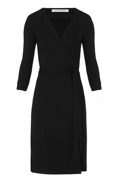 Effortlessly chic every time, the New Julian Two wrap dress is a modern take on a DVF classic. Cross over wrap with straight skirt and a self-tie belt. 3/4 sleeves. In our seasonless matte jersey. Unlined. Fit runs small. Falls to above knee.