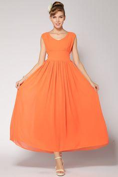 Orange V Neck Sleeveless Lacy Full Length Dress