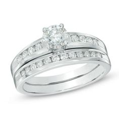 1.00 CT. T.W. Certified Canadian Diamond Bridal Set in 14K White Gold (H-I/I2)