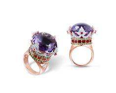 Farah Khan Crown rose gold ring with a central amethyst surrounded by diamonds, rubies and emeralds.