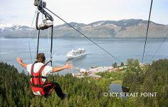 Worlds Longest Zipline POV Icy Strait Point Alaska  WATCH IN FULL SCREEN TO SCREAM POV FRONT SEAT RIDE! Stats: Length: 5,495 feet long Verti...