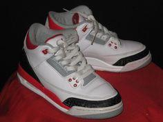 Nike Air Jordan 3 Retro GS Sneakers White/Red/Black (398614-120) Sz 5Y  #Nike #BasketballShoes