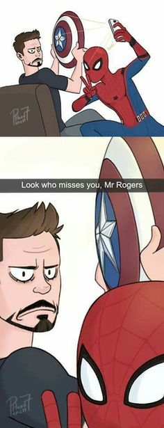 Tony doesn't looked pleased, Peter.