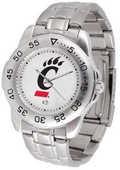 Cincinnati Sport Men's Steel Band Watch by SunTime. $54.95. This handsome, eye-catching watch comes with a stainless steel link bracelet. A date calendar function plus a rotating bezel/timer circles the scratch resistant crystal. Sport the bold, colorful, high quality logo with pride.