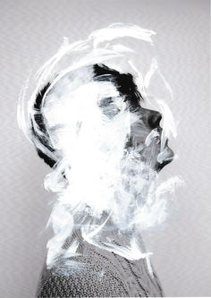 White acrylic paint Painted directly on top of a photograph subtracting the subject's identity By Dan Claydon