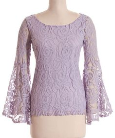 Look what I found on Lilac Lace Overlay Bell Sleeve Top by Coveted Clothing Classy Outfits, Pretty Outfits, Cool Outfits, Fashion Outfits, Womens Fashion, Fasion, Style Fashion, American Girl Clothes, Lace Overlay