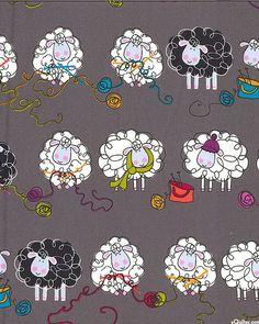 Kanvas by Benartex Knitting Sheep on Dark Gray by KnitOneQuiltTwo