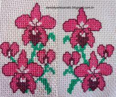 Detalhe orquideas Cross Stitch Patterns, Mary, Face Towel, Bath Linens, Cross Stitch Embroidery, Craft, Dots, Patterns, Cross Stitch Charts