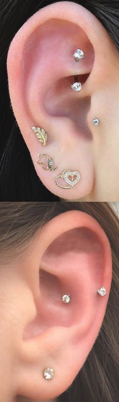Pretty Multiple Ear Piercing Ideas Placement at MyBodiArt.com - Silver Crystal 16G Rook Piercing Jewelry - Snug Barbell Earring - Gold Leaf Elephant Hearts Stud