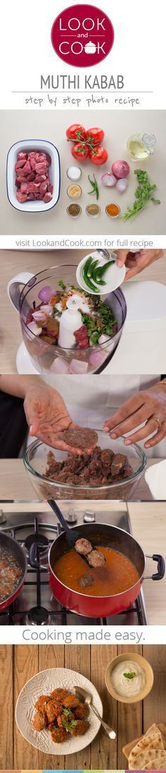 MUTHI KABAB RECIPE Muthi Kebab Recipe ( This step by step recipe with photos is for the kebab / kabab lovers with a smoky flavour and a thick gravy. (beef recipes for dinner indian) Kebab Recipes, Lamb Recipes, Veg Recipes, Spicy Recipes, Indian Food Recipes, Asian Recipes, Chicken Recipes, Cooking Recipes, Recipies